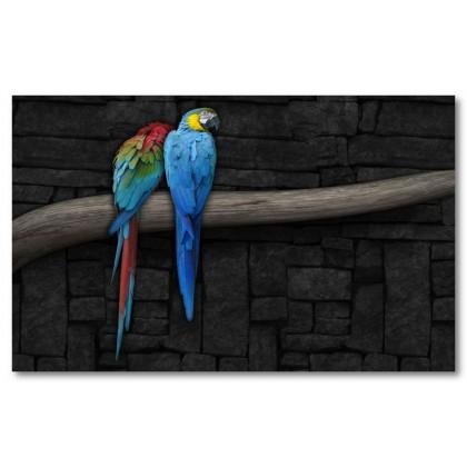 Αφίσα (πολύχρωμος, παπαγάλος, πουλιά, κλαδιά)